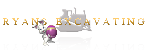 Ryan's Excavating Logo - transparent image of ryans excavating text centered over a bulldozer with a reflection